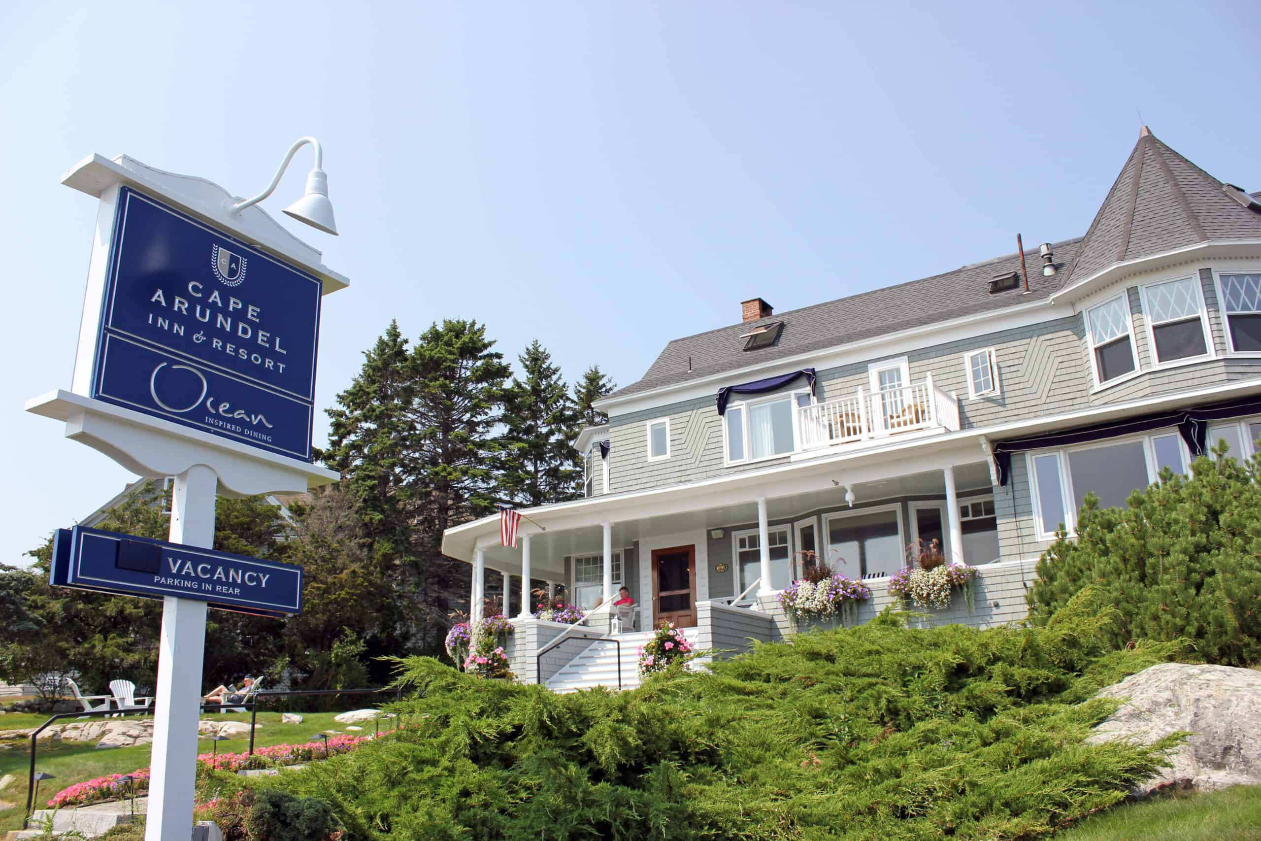 Grey accommodation with a sign that says Cape Arundel, most loved hotels in Maine