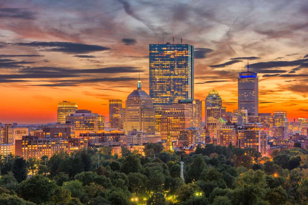 boston city skyline during a colorful sunset