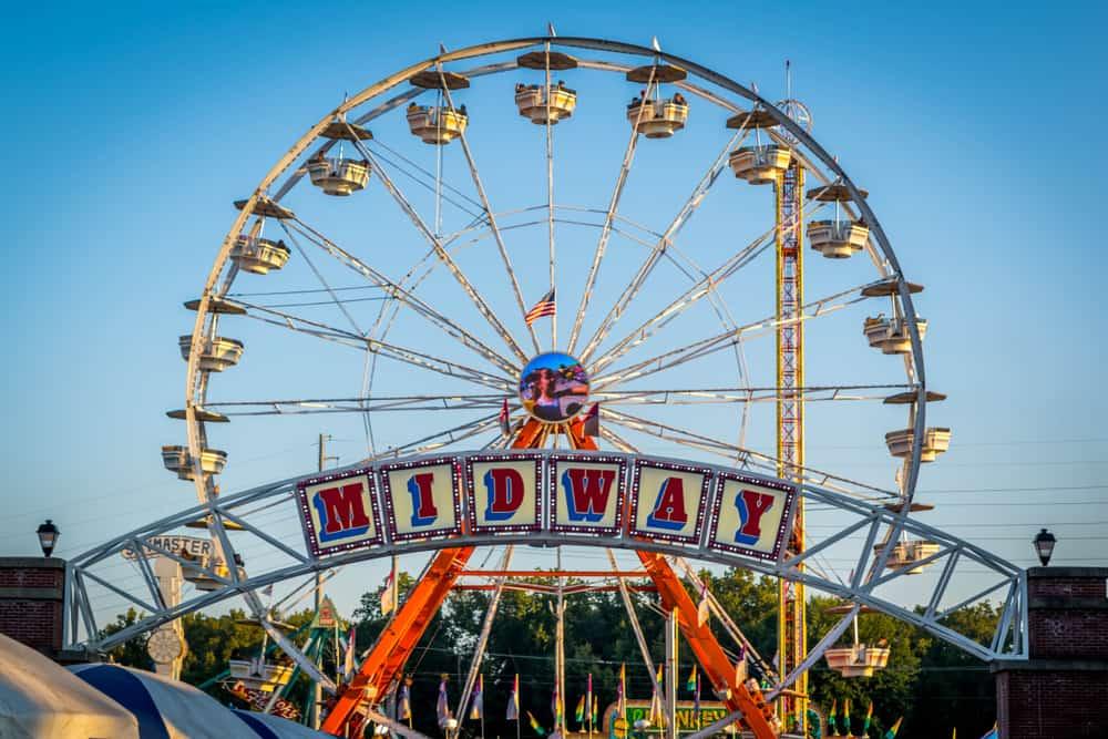 "Ferris wheel that says ""midway"""