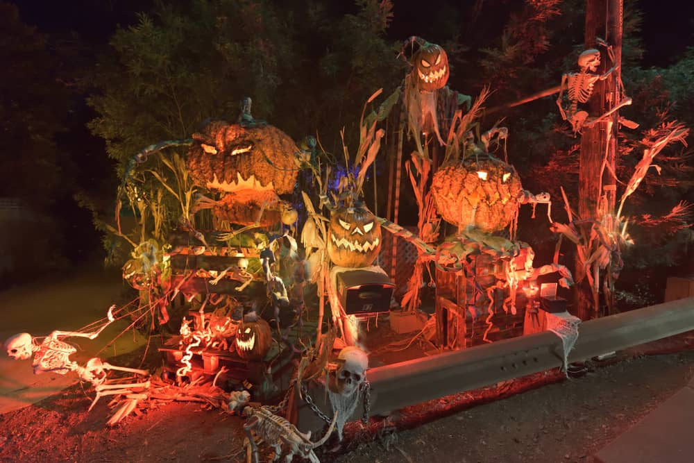 Halloween decorations lit up