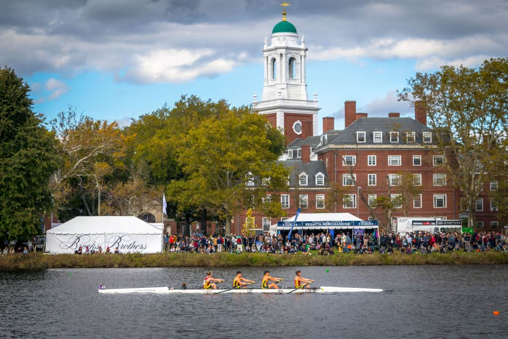 Crew team in a boat on the Charles River