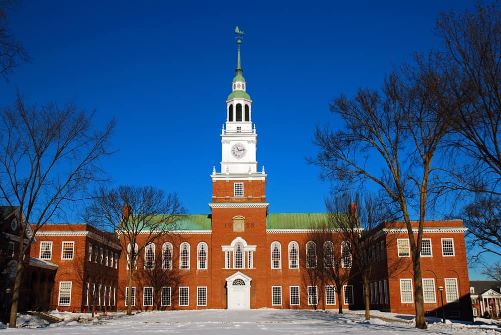 Old historic Dartmouth College under a blue sky