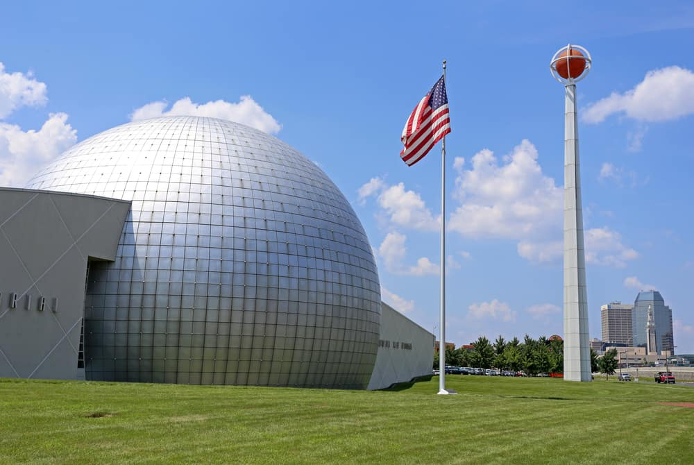 silver domed basketball museum under a blue sky, things to do in springfield