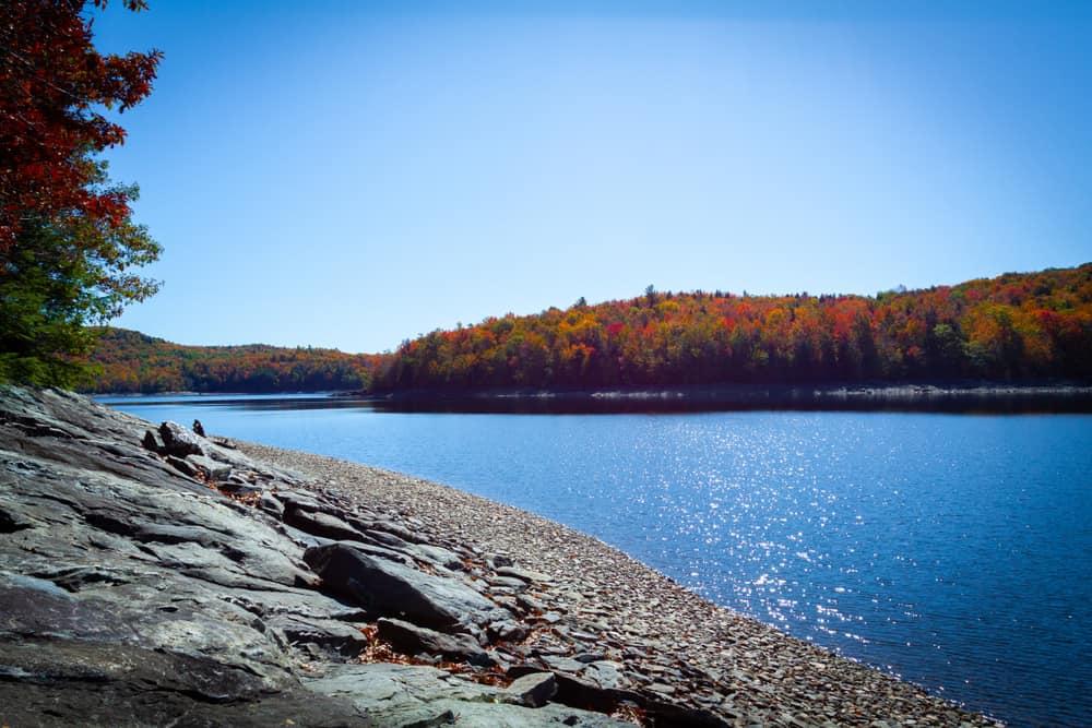 Serene blue reservoir in the fall