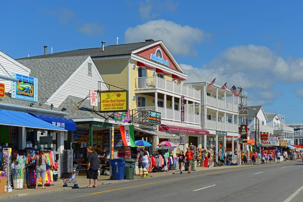 Historic shops lining a street