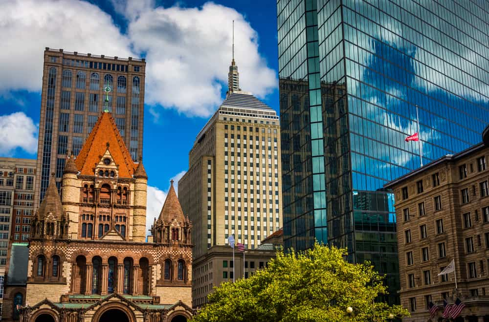 Cluster of buildings at Copley Square in Boston, Massachusetts.