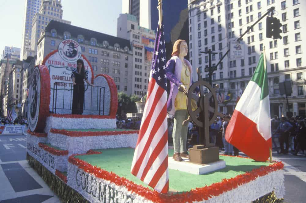 Parade with a Christopher Columbus flaoat
