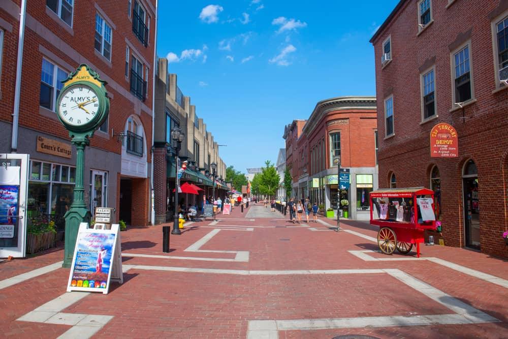 Brick street with brick shops lining it