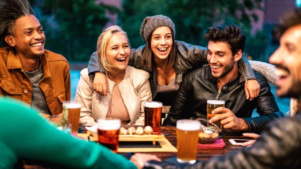 Friends having fun at a brew pub