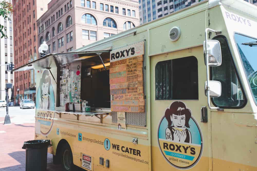 Yellow food truck that says roxy's grilled cheese, fun restaurants in Boston