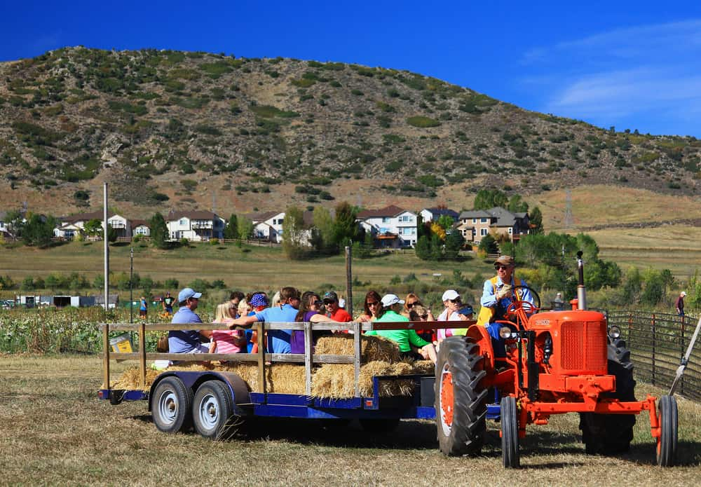 Orange tractor pulling kids on a hay ride