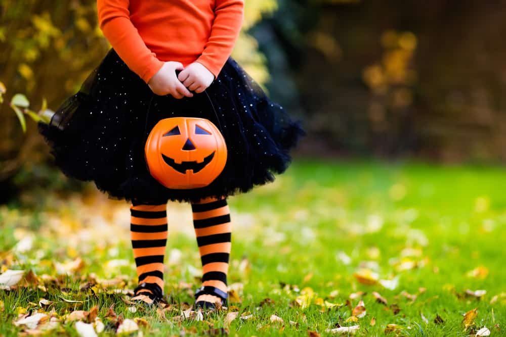 Child in a Halloween costume holding a trick or treat bag