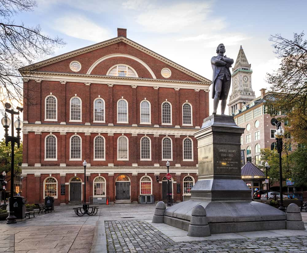image of faneuil hall boston during october