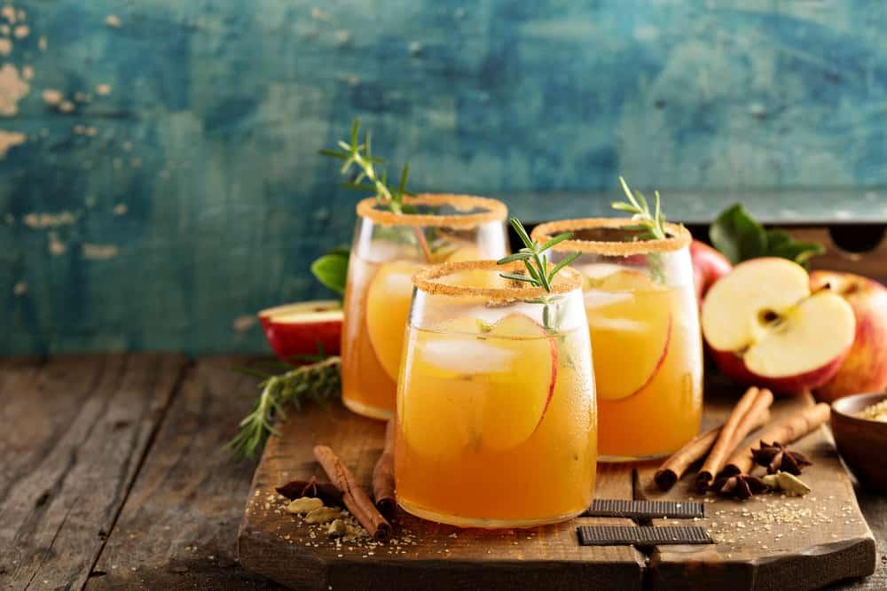 hard apple cider in glasses