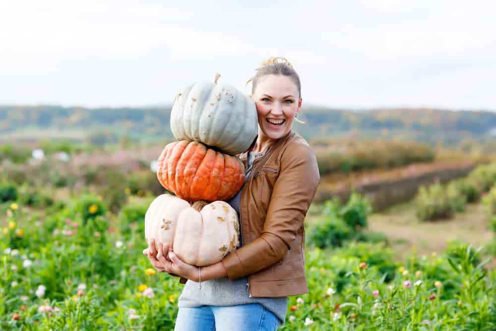 Girl smiling holding a pile of pumpkins