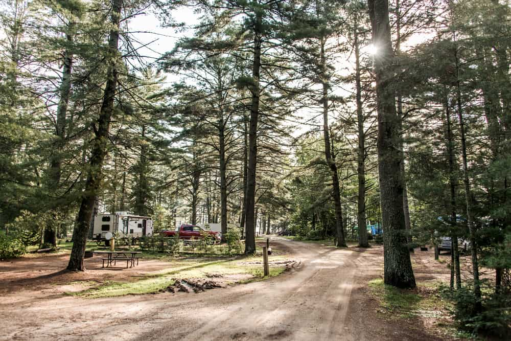 Campground during the day with RVss