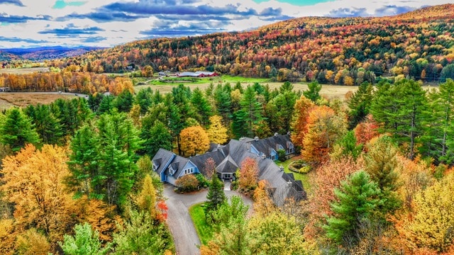 Colorful fall foliage with a building in the middle