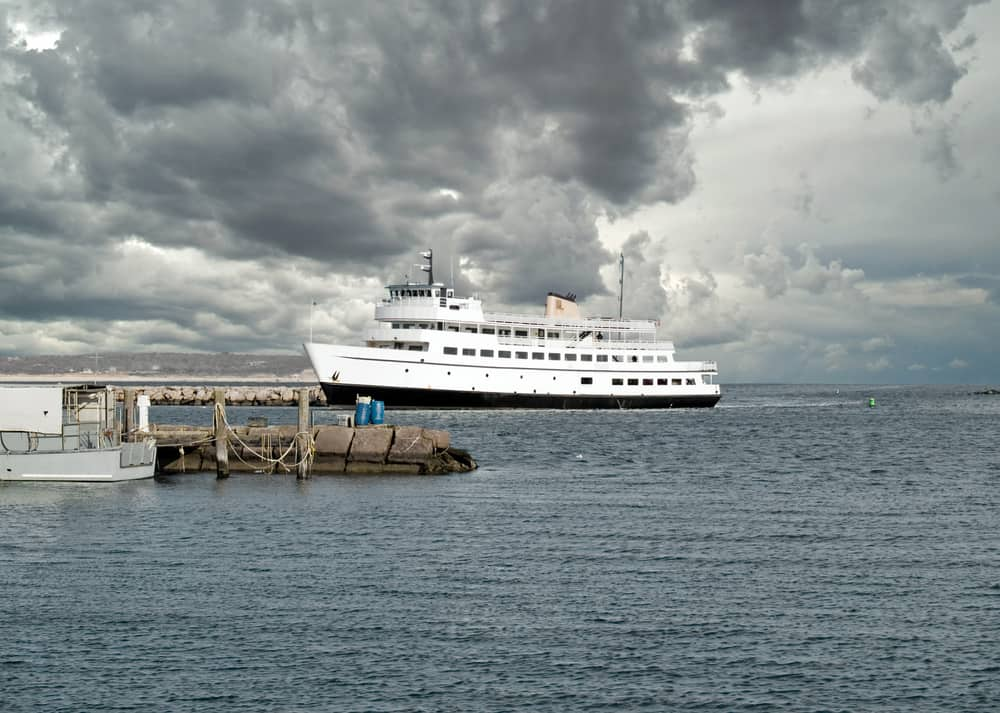 White ferry boat on the water