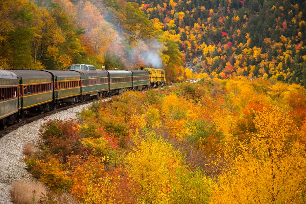 Train ride in New Hampshire during the fall