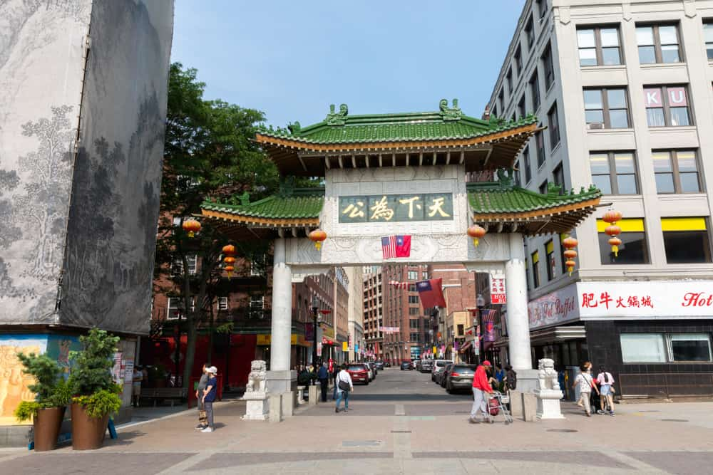 Green and white entrance to Chinatown in Boston