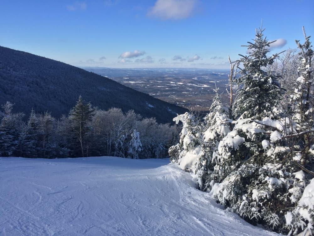 Ski trail in the snow in winter