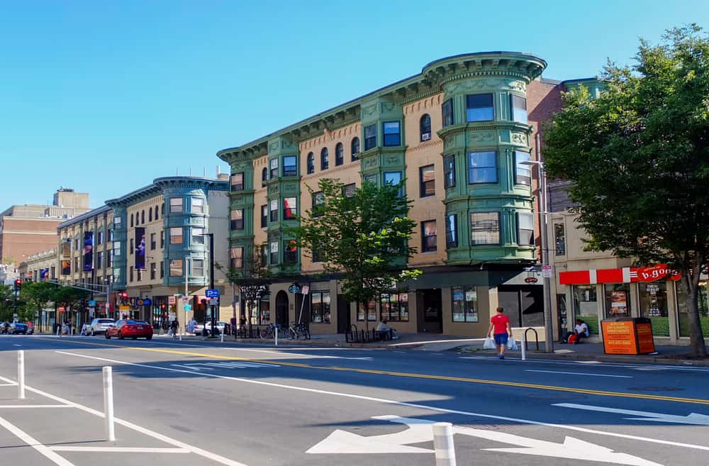 Shopping street with brownstone buildings, Boston bucket list