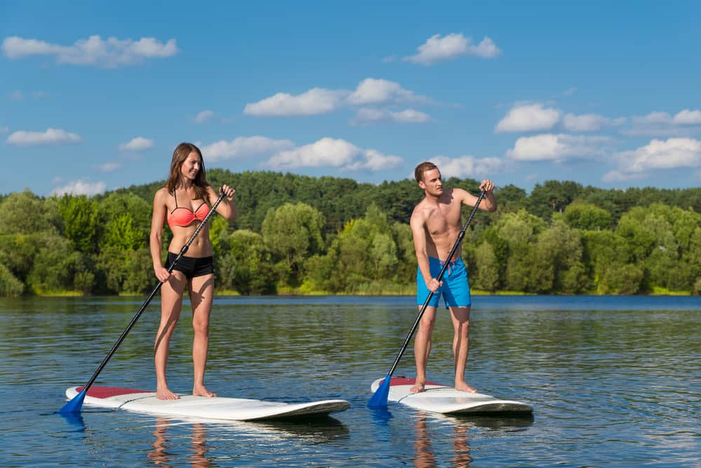 Two people on paddleboards