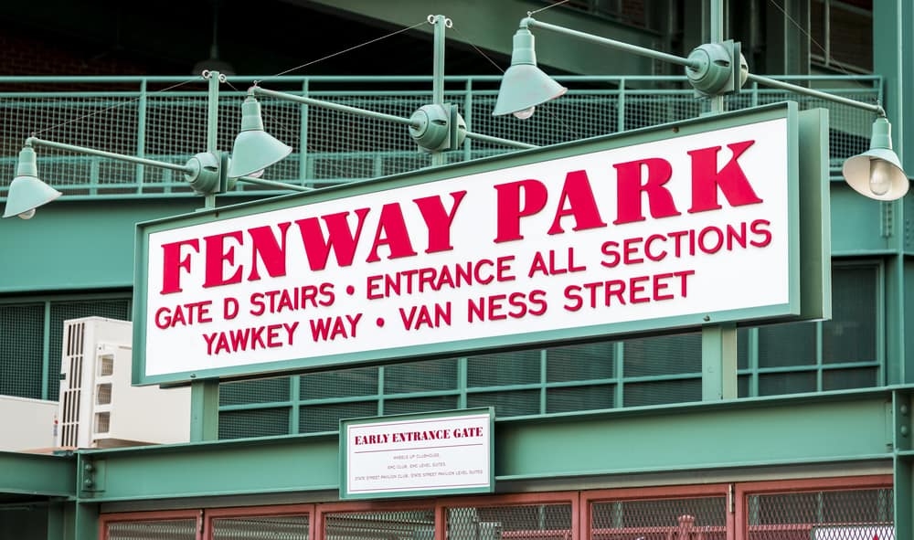 Red sign that says Fenway Park