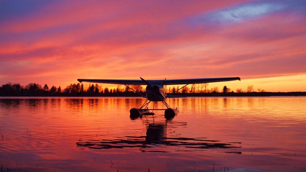 Seaplane landing in water