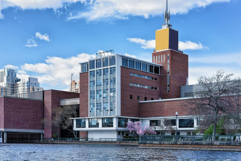 Brick museum of science in Boston near the water