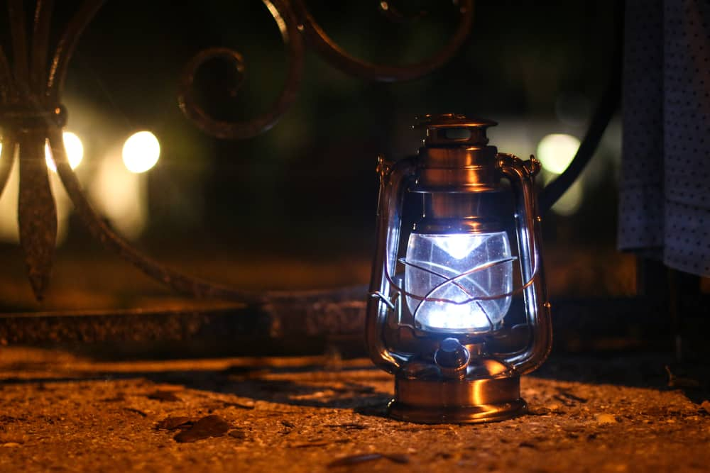 Lantern lit up in the dark